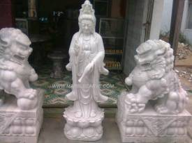 Marble Quan Yin Statue carving Sculpture Garden carving photo image