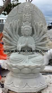 Marble thousand hand Kwan Yin Statue carving Sculpture Garden carving