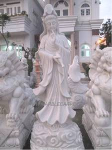 Marble Guan Yin carving Sculpture Garden carving photo image